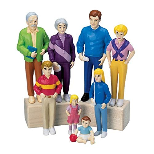 Constructive Playthings CPX-720 Pretend Play Families Set of Four 8 Piece Family Sets Largest is 5'' Tall