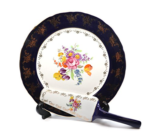 - Royalty Porcelain Dessert Сake Serving Set, 24K Gold, Czech Tableware
