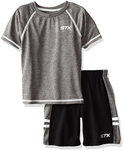 STX Little Boys' Toddler 2 Piece Performance Athletic T-Shirt and Short Set, Black, ()