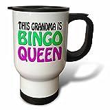 Travel Mug for Women This Grandma Is Bingo Queen Hot Pink Lime Green Novelty Travel Mug with Handle Stainless Steel 14oz Tea Cup Gifts Coffee Mug