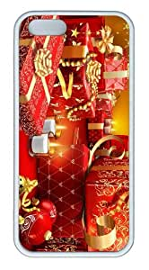 iPhone 5S Customized Unique Landscape Flowers Lots Of Christmas Presents New Fashion TPU White iPhone 5/5S Cases