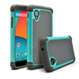 Nexus 5 Case, MagicMobile [Dual Armor Series] Hybrid Impact Resistant Nexus 5 Shockproof Tough Case (Rugged Hard Plastic) + (Rubber Silicone) Skin Protective Case for LG Nexus 5 - Gray / Turquoise