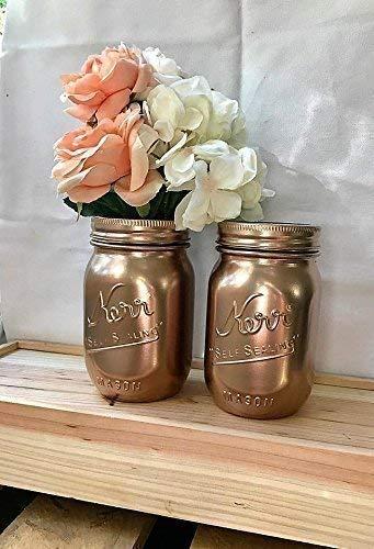 metallic rose gold painted pint mason jars bridal shower centerpiece set of 2