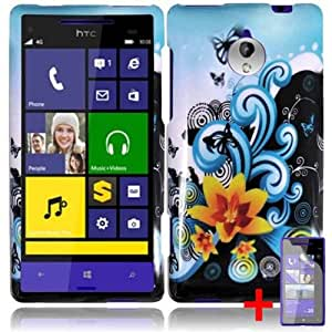 HTC TIARA 8XT YELLOW FLOWER BLUE BUTTERFLY COVER SNAP ON HARD CASE +FREE SCREEN PROTECTOR from [ACCESSORY ARENA]
