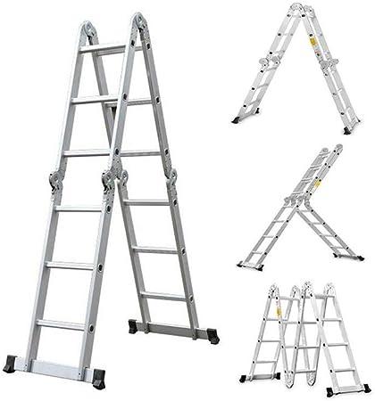 WYYY Escaleras telescópicas Escaleras Multifunción Doblez Escalera Aleación De Aluminio Espesar Espina De Pescado Casa Escalera Ático Subir Soltar Telescópico Derecho Ingenieria Escalera Extensión ext: Amazon.es: Hogar