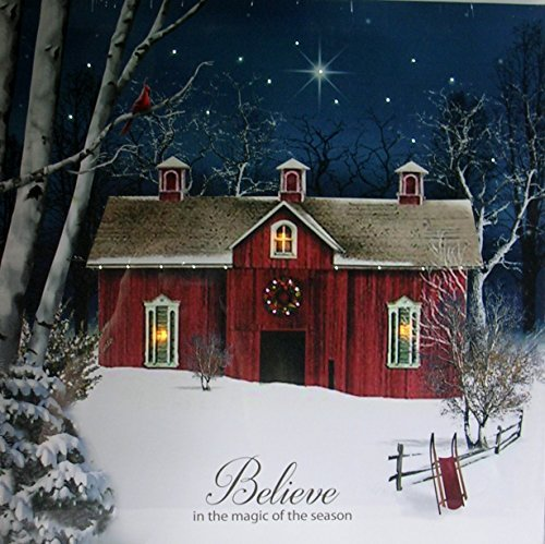OSW Believe Barn Scene LED Art Canvas Light up Picture (16x16x1 (Snow Scenes Pictures)