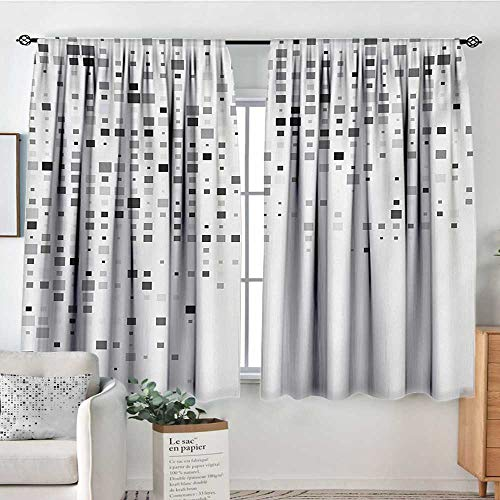Mozenou Grey Thermal Insulating Blackout Curtain Digital Pattern Composed of Geometric Elements Radiant Rectangle Parallel Picture Print Thermal Blackout Curtains 72