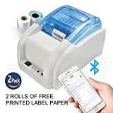 NYEAR Mobile Phones and Computers Bluetooth Thermal Code Stickers Label Printer Machine Compatible with Android and Apple iOS Windows +2 Free Labels (USB+Bluetooth+WiFi)