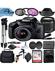 Canon EOS 4000D / Rebel T100 DSLR Camera with EF-S 18-55mm Lens, SanDisk 32GB Memory Card, Case, Tripod, 3 Pack Filters and A-Cell Accessory Bundle (Black)