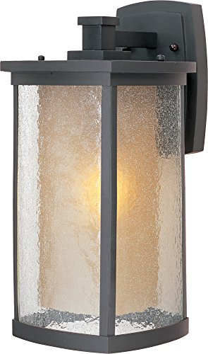 (Maxim 3154CDWSBZ Bungalow 1-Light Wall Lantern, Bronze Finish, Seedy/Wilshire Glass, MB Incandescent Incandescent Bulb , 60W Max., Dry Safety Rating, Standard Dimmable, Glass Shade Material, Rated Lumens)