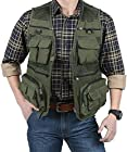 EKLENTSON Men's Fishing Jackets Waterproof Work Utility Photography Fishing Vests for Men Olive