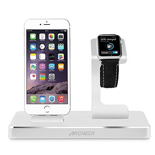 Archeer Apple Watch Stand Ständer 3 in 1 Multifunktions Aluninum Apple Ladestation Charging Dock Ladegerät für iPhone iPad iPod und  Smartphone(Apple MFi Certified)