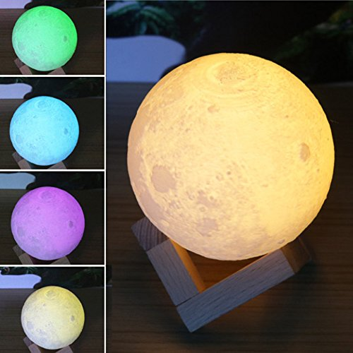 About2shop® 7 Color Changing Mode Glowing 3D Print Lighting Night Light LED Ball Moon Lamp Touch Control Brightness With USB Recharge Charging for Home Decor (3.2 inches (8 cm))
