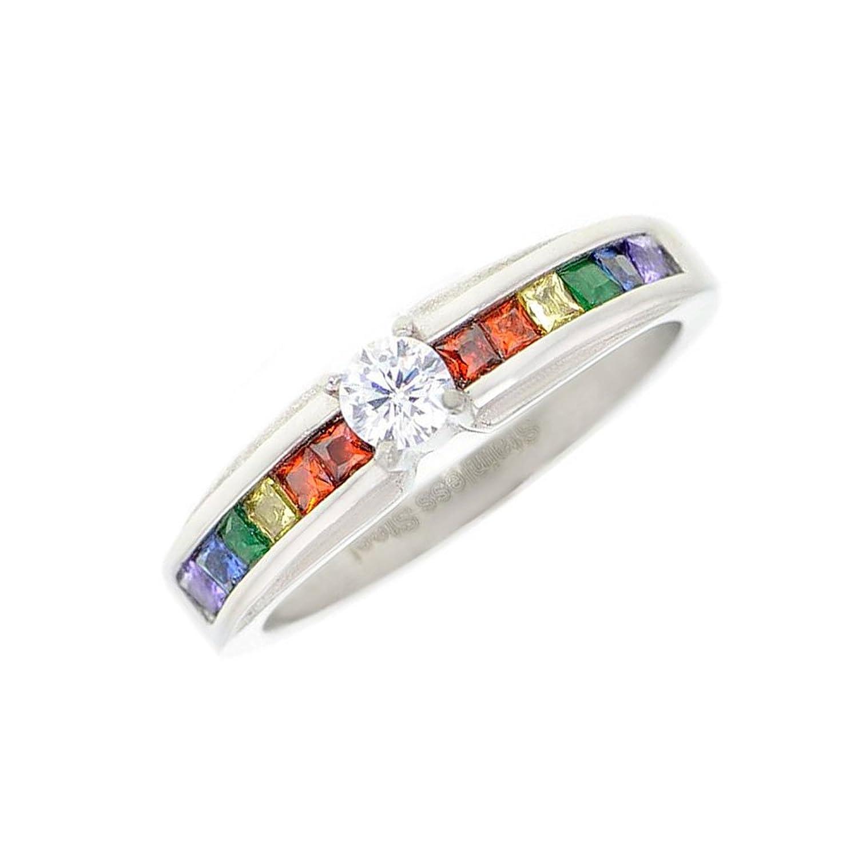 Amazon Lesbian Pride Rainbow Ring Round CZ Center Stone Gay