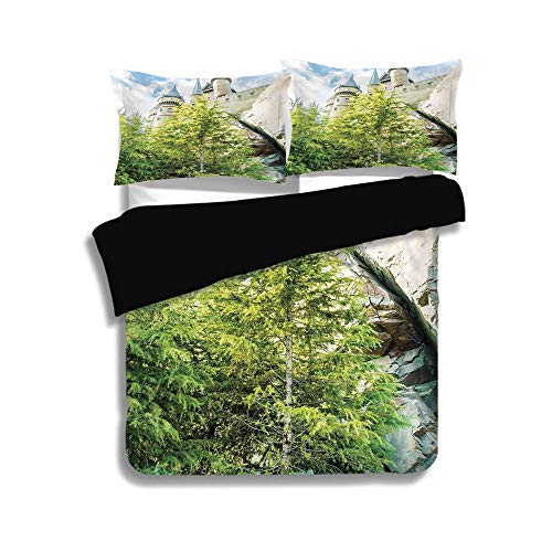Black Duvet Cover Set Twin Size,Wizard,Witchcraft School and Wizard Castle in Woods Replica in Japan Picture Print,Green Blue Beige,Decorative 3 Pcs Bedding Set by 2 Pillow Shams