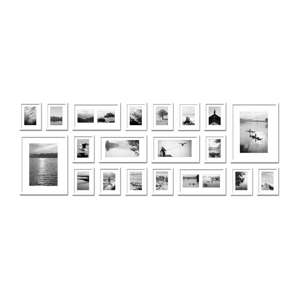 White multi photo frames wall balvi designer wall frames multi large multi picture photo frames wall set pieces set white jeuxipadfo Images