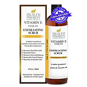 100% Natural Vitamin E Facial Exfoliating Scrub. Rich & creamy exfoliator with jojoba pearls + alpha hydroxy acid helps wash, cleanse & exfoliate face. Best exfoliant to fix uneven skin tone and acne.