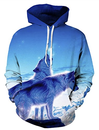 Mens Sweater 1970s (Belovecol Mens Casual Hoody Sweatshirts 70s 80s 90s Funny 3D Print Wolf Graphic Hoodies with Inside Pocket X-Large)