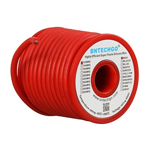 BNTECHGO 12 Gauge Silicone Wire Spool 25 ft Red Flexible 12 AWG Stranded Tinned Copper Wire