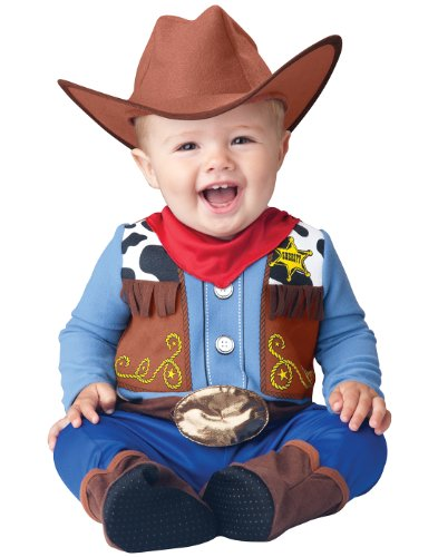 InCharacter Baby Boy's Wee Wrangler Cowboy Costume, Tan/Blue, L (18-24mos) -