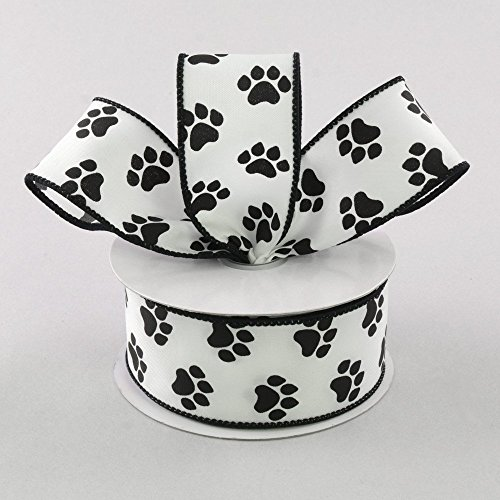 White Satin with Black Paw Prints 1.5