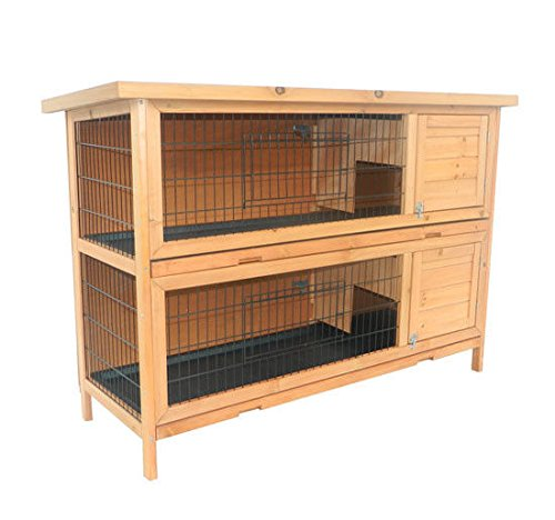 Story Cage Small Animal (PawHut 2 Story Stacked Wooden Outdoor Bunny Rabbit Hutch/Guinea Pig House)