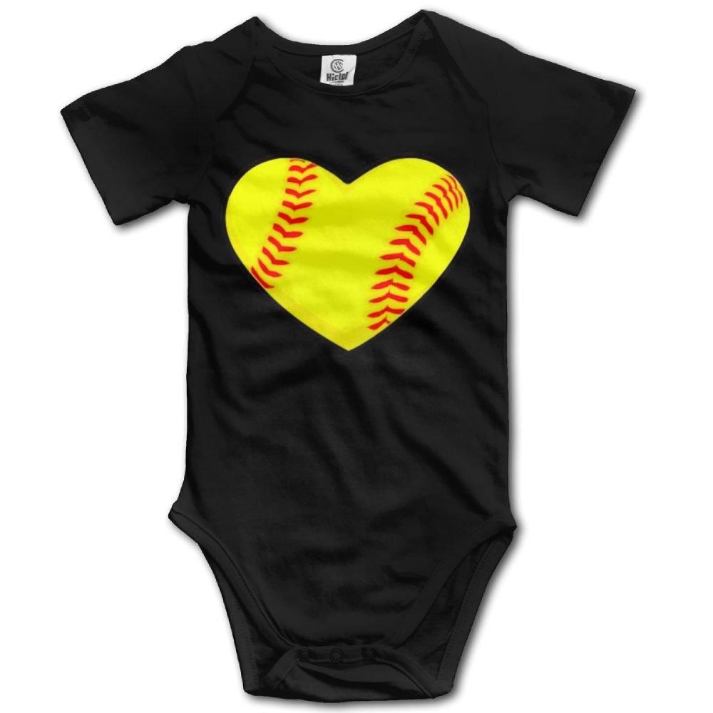 Dream-R I Love Softball Heart Newborn Babys Boy's & Girl's Short Sleeve Jumpsuit Outfits For 0-24 Months Black Size Newborn