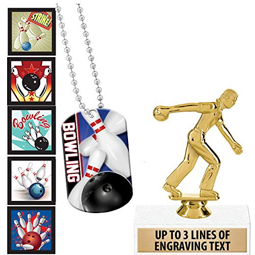 Crown Awards Bowling Goodie Bags, Bowling Favors for Bowling Themed Party Supplies Comes with Personalized Boys Bowling Party Bowling Trophy, Bowling Dog Tag and Bowling Stickers 20 Pack Prime by Crown Awards (Image #4)