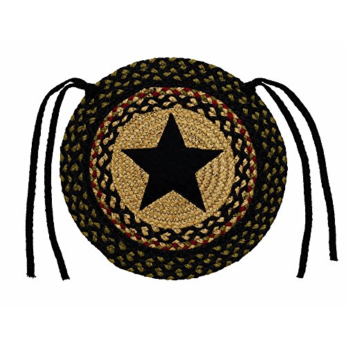 IHF Home Decor Braided Area Rug | Chair Cover Pad Round | Tartan Star | 100% Natural Jute Material Fiber Rugs 15