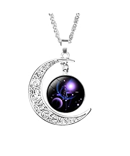 Skyeye Classical Twelve Constellations Pendant Necklace Carved Moon Trinket Fashion Jewellery Anniversary Thanksgiving Day Carnival New Year Gifts 1Pcs Libra