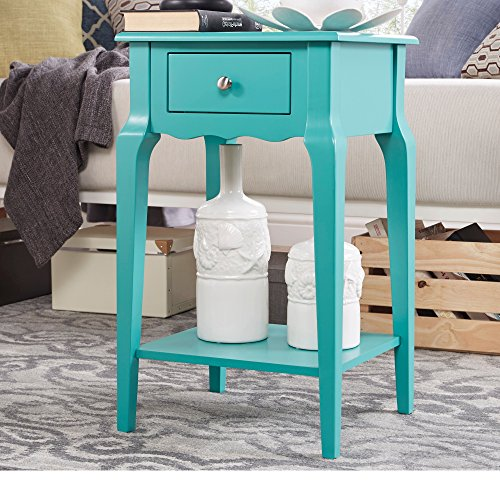 Single Piece Daniella 1-Drawer Marine Green Wood Storage Accent End Table, Nightstand, Classical Rectangle Shape, Contemporary And Country Style, Rubberwood Veneer And Wood Material, Aqua ,Turquoise