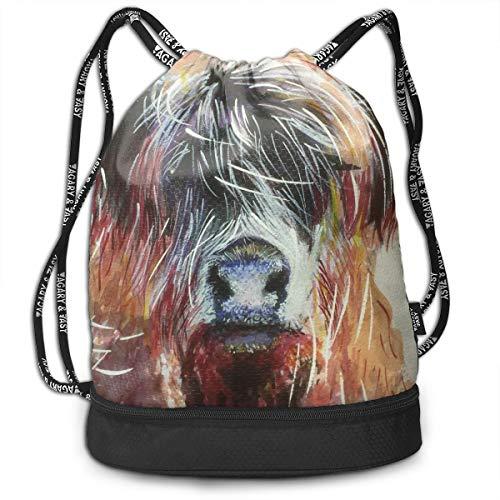 (Zhangyi Watercolor Highland Cow Drawstring Backpack Sports Gym Cinch Sack Bag for Women Men Children Gymsack)