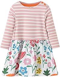 Girls Cotton Longsleeve Casual Dresses Striped Applique Cartoon