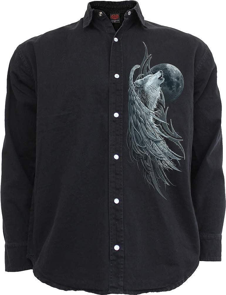Spiral Direct Blusa o Camisa de Manga Larga con Estampado Wolf Spirit - Negro