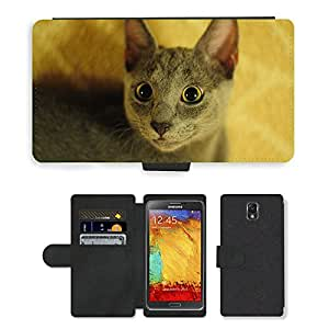 CARD POCKET BOOK CASE PU LEATHER CASE // M00147328 Gato azul ruso Animal Persona del gato // Samsung Galaxy Note 3 III N9000 N9002 N9005