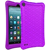 BMOUO Silicone Case for All-New Amazon Fire 7 Tablet (7th Generation, 2017 Release) - [Upgraded Comb Version] [Kids Friendly] Light Weight [Anti Slip] Shock Proof Protective Cover, Purple