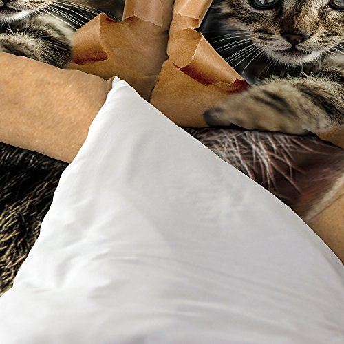 Libaoge 4 Piece Bed Sheets Set, Lovely Baby Cat Print, 1 Flat Sheet 1 Duvet Cover and 2 Pillow Cases by Libaoge (Image #1)