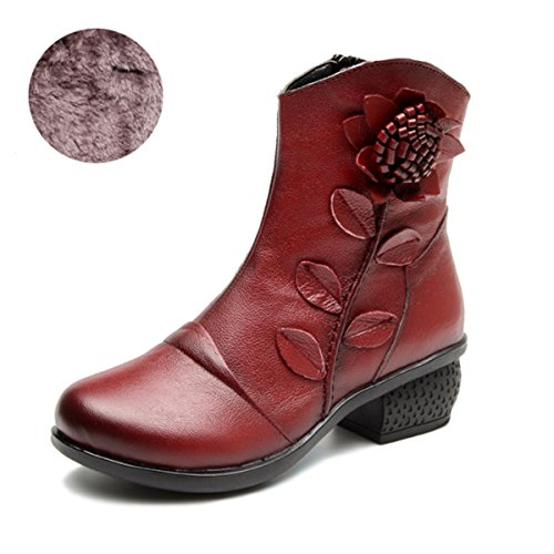 Stitching Boots Vintage top Ankle Boots Warm Casual Pattern High Socofy Fur With leather Women's Handmade Shoes Red Flower Leather Zipper Booties 1xOIqaE
