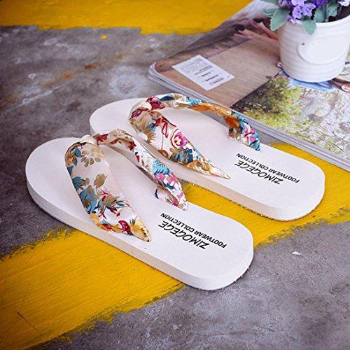 f48a187cc1b1c ... Femmes Sandales Plates, Dixworld Été Bohème Tongs Plage Pantoufle  Chaussures Beige