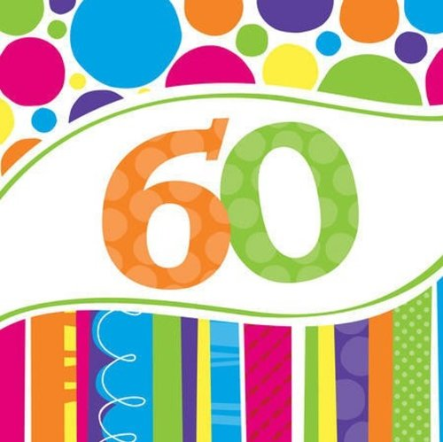 Creative Converting 18 Count Bright and Bold 60th Birthday Lunch Napkins