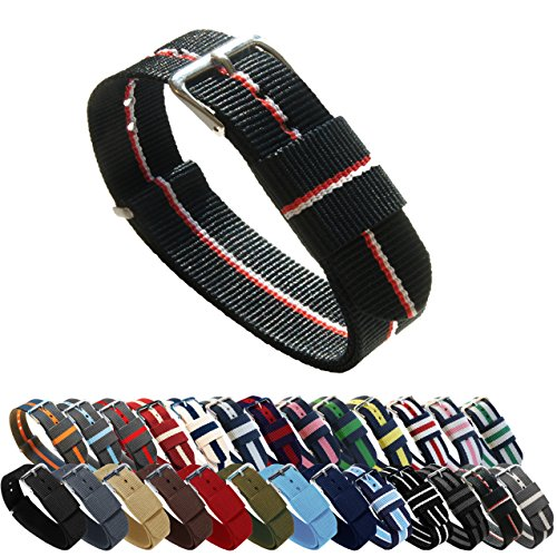 BARTON Watch Bands - Choice of Color, Length & Width (18mm, 20mm, 22mm or 24mm) - Black/Cherry/Ivory 24mm - 'Long' Version