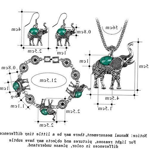 Endicot Vintage Women Bohemian Turquoise Elephant Necklace Earrings Bracelet Jewelry Set | Model ERRNGS - 3952 |
