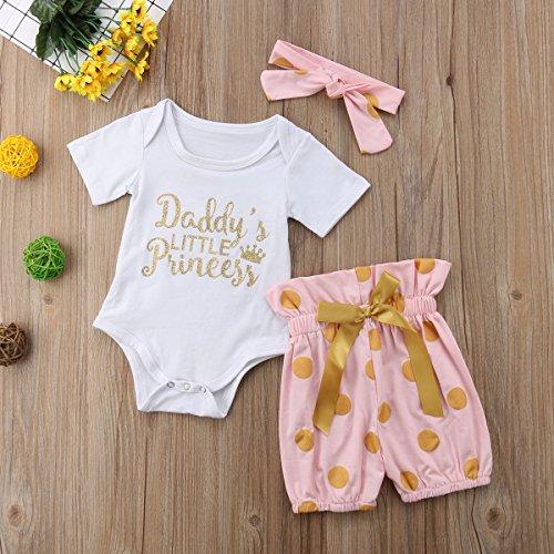 Chennie 3 St/ücke Babyspielanzug R/üschen Shorts Blume Stirnband Kurzarm Sommer Outfits