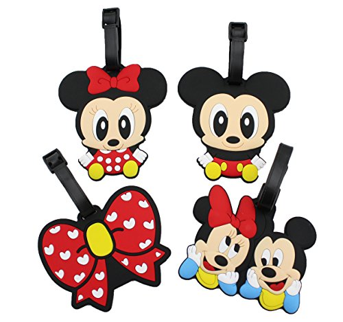 Finex - Set of 4 - Mickey Minnie Donald Duck Travel Luggage ID Tag for Bags Suitcases