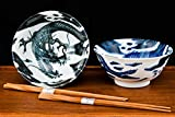Happy Sales HSTYB-DRGN, Japanese Rice Noodle Ramen Bowls 6''D Multi Purpose Tayo Bowl Set of 2 with Chopsticks, Dragon Design