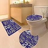 Printsonne 3 Piece Bathroom Contour Rugs Retro American Football College Version Illustration Athletic Championship Apparel Blue White Anti-Slip Water Absorption