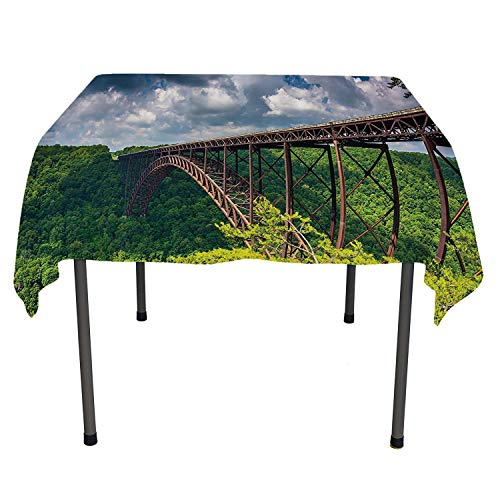 Apartment Decor Collection Tablecloth Birthday Party The New River Gorge Bridge Seen from Canyon Rim Visitor Center Overlook Image Acrylic Coated Tablecloth Spring/Summer/Party/Picnic 70 by 70