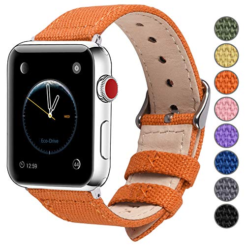 Fullmosa Compatible Apple Watch Band 38mm 40mm 42mm 44mm, 8 Colors Canvas Style Compatible with Apple Watch Series 4 (40mm) Series 3 Series 2 Series 1 (38mm),38mm 40mm Pumpkin Orange