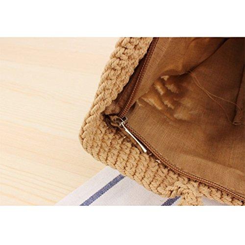 Bolso Beige de Outflower de en Paja Bolso Bolso Tejido Playa de de marrón Verano Mano Sólido Color wBwqxt