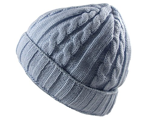 RW Soft Stretch Cable Knit Beanie with Cuff (Sky Blue) ()